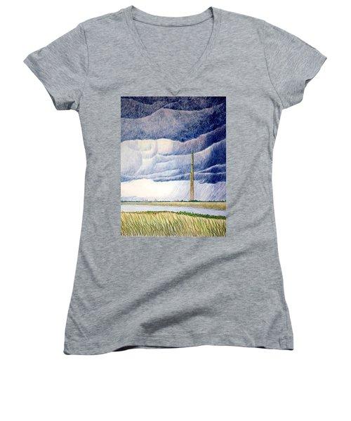 A Finger To The Sky Women's V-Neck T-Shirt (Junior Cut)