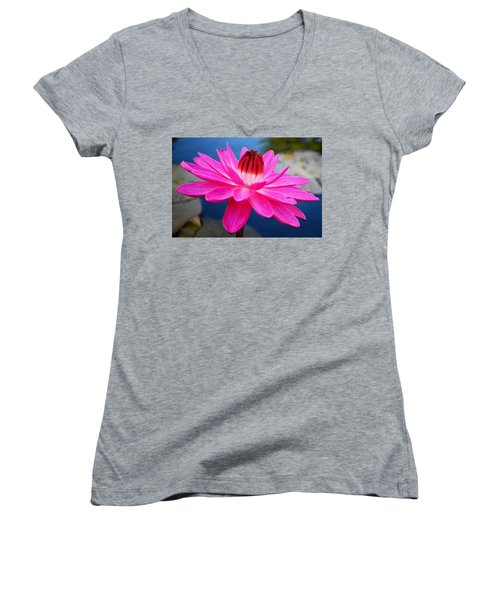 A Flower And A Dream... Women's V-Neck T-Shirt (Junior Cut) by Melanie Moraga