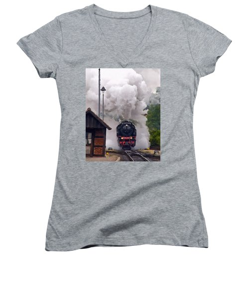 A Full Head Of Steam Women's V-Neck T-Shirt (Junior Cut) by Michael Pickett
