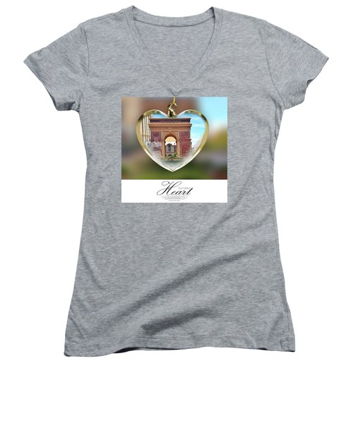 A Fury For Flavor, Arc De Triomphe, Las Women's V-Neck T-Shirt (Junior Cut) by Anna Porter