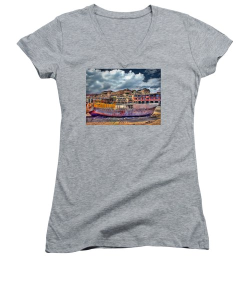 Women's V-Neck T-Shirt featuring the photograph A Genesis Sunrise Over The Old City by Ronsho