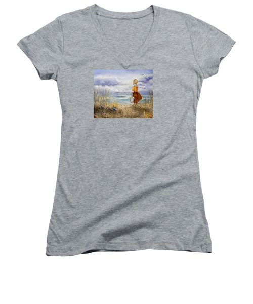A Girl And The Ocean Women's V-Neck