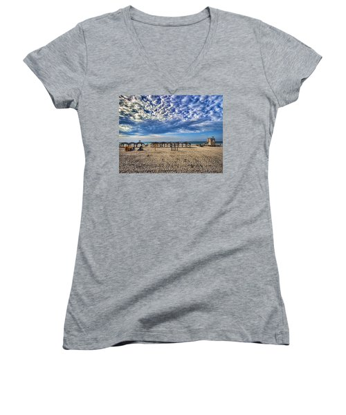 Women's V-Neck T-Shirt featuring the photograph a good morning from Jerusalem beach  by Ron Shoshani