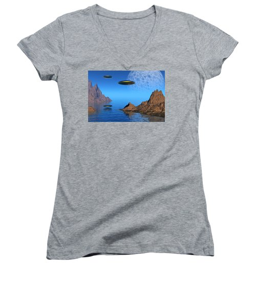 Women's V-Neck T-Shirt (Junior Cut) featuring the digital art A Great Day For Flying by Lyle Hatch