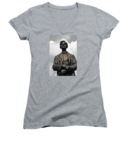 A Great Man Women's V-Neck T-Shirt (Junior Cut) by Kathy Barney