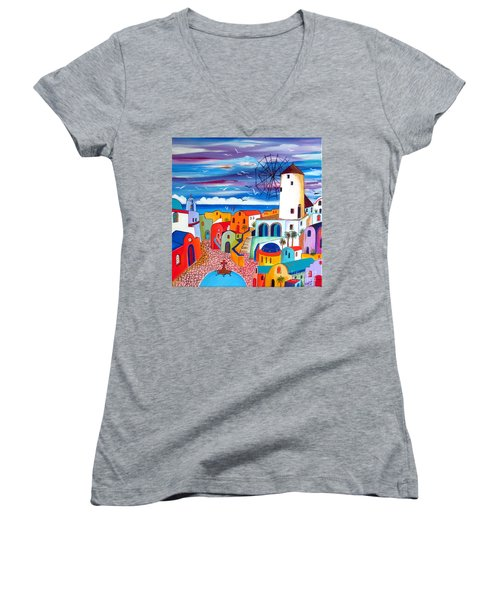 Women's V-Neck T-Shirt (Junior Cut) featuring the painting A Greek Mill And The Colors Of Oia Santorini  by Roberto Gagliardi