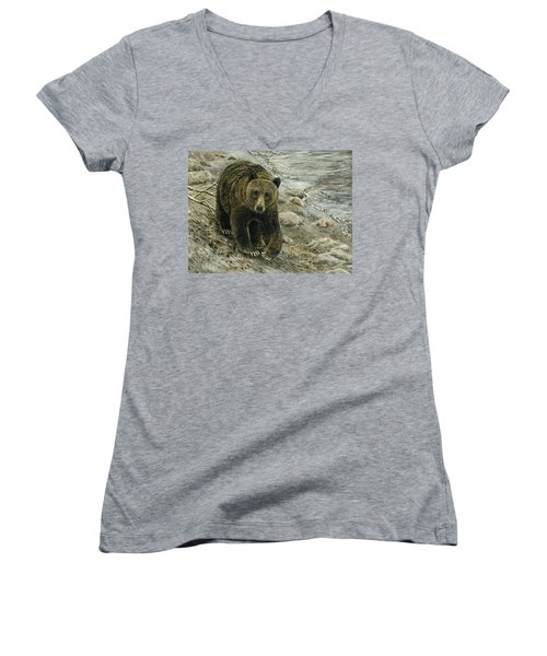 A Grey And Grizzly Day Women's V-Neck (Athletic Fit)