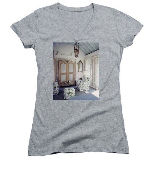 A Guest Room At Hickory Hill Women's V-Neck