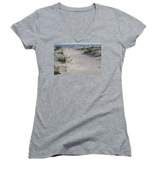 A Gull's Walk To The Ocean Women's V-Neck T-Shirt