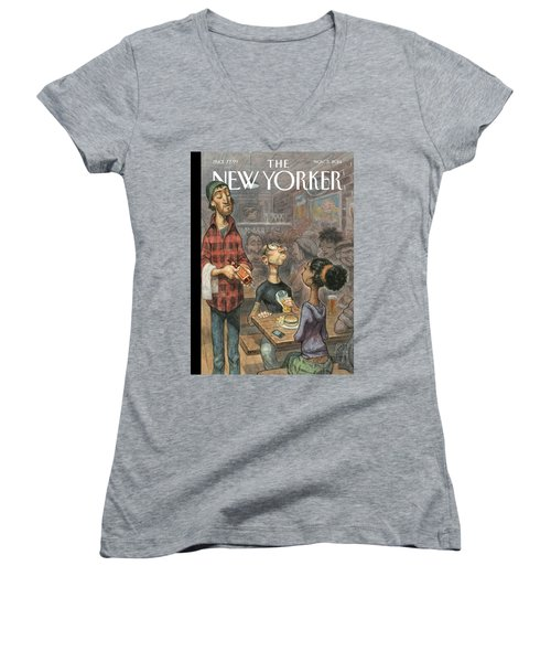 A Hipster Samples Craft Beer Women's V-Neck (Athletic Fit)