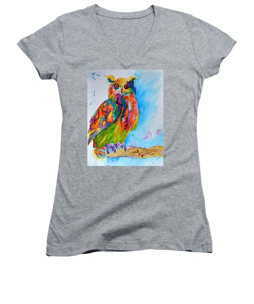 Women's V-Neck T-Shirt (Junior Cut) featuring the painting A Hootiful Moment In Time by Beverley Harper Tinsley