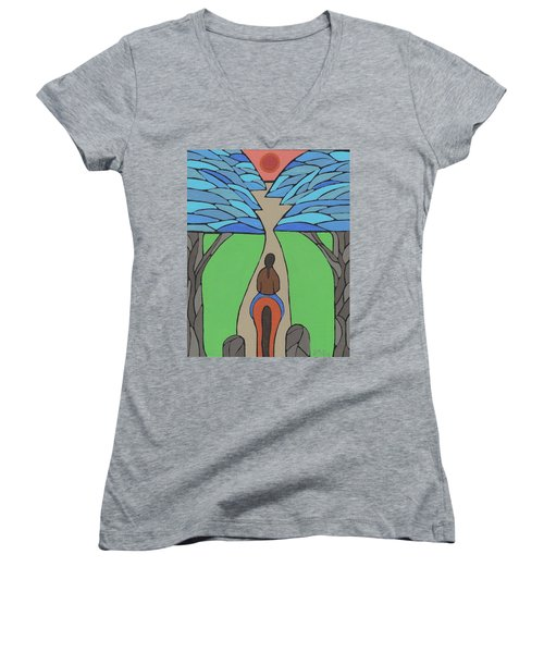 Women's V-Neck T-Shirt (Junior Cut) featuring the painting A Horse Of A Different Colour by Barbara St Jean