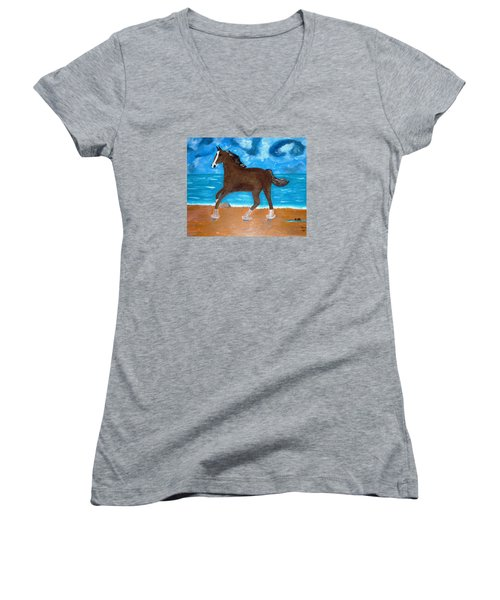 A Horse On The Beach Women's V-Neck (Athletic Fit)
