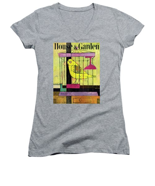 A House And Garden Cover Of A Bird In A Cage Women's V-Neck