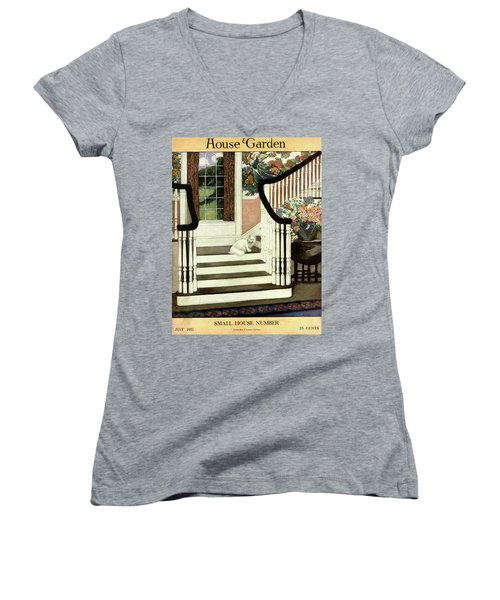 A House And Garden Cover Of A Cat On A Staircase Women's V-Neck