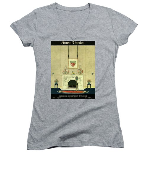 A House And Garden Cover Of A Fireplace Women's V-Neck