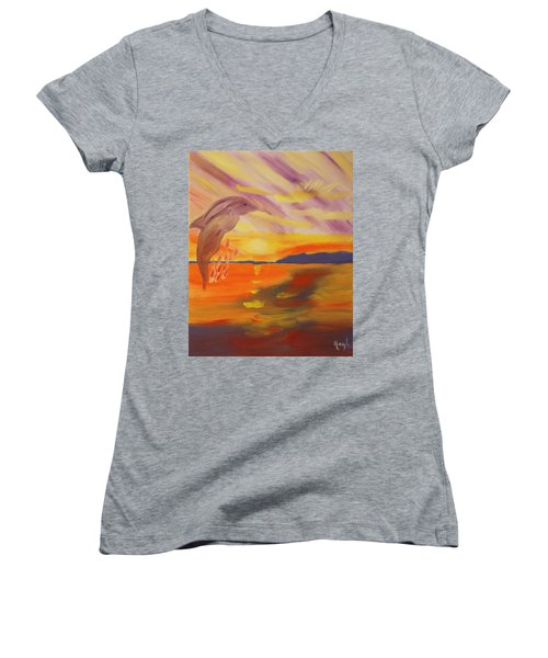 Women's V-Neck T-Shirt (Junior Cut) featuring the painting A Leap Of Joy by Meryl Goudey