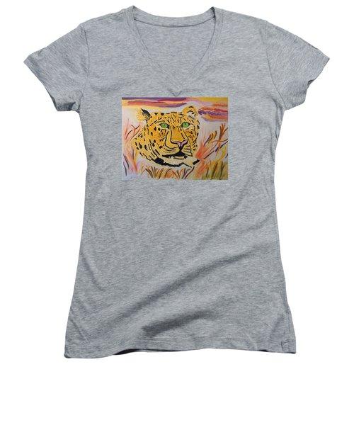 Women's V-Neck T-Shirt (Junior Cut) featuring the painting A Leopard's Gaze by Meryl Goudey