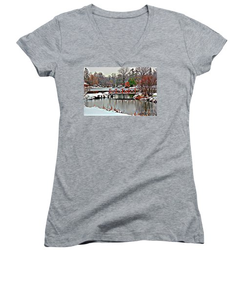 Women's V-Neck T-Shirt (Junior Cut) featuring the photograph A Light Dusting Of Snow by Judy Palkimas