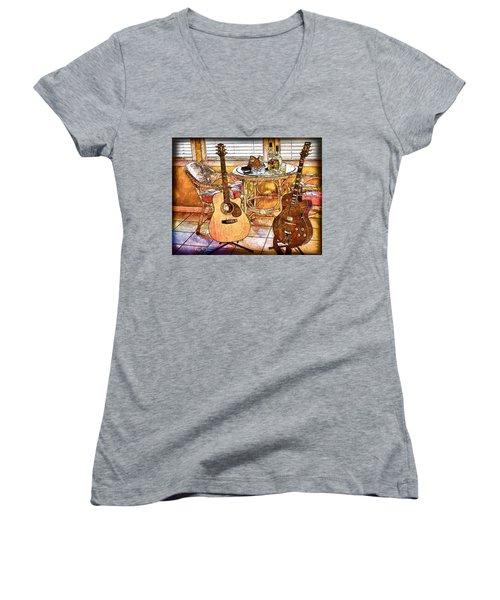 A Little Bit Country-a Little Bit Blues Women's V-Neck T-Shirt