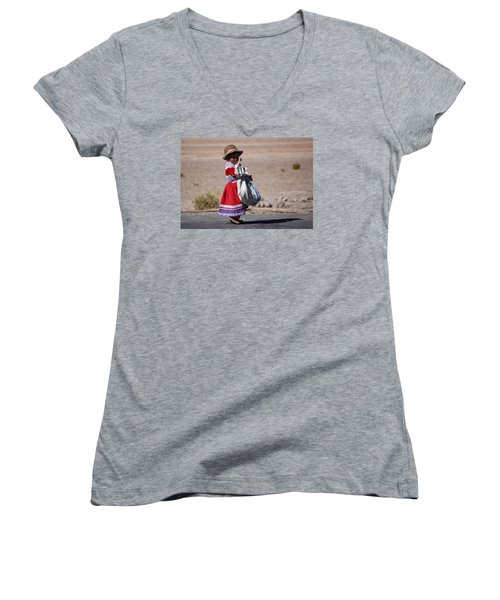 A Little Girl In The  High Plain Women's V-Neck T-Shirt (Junior Cut) by RicardMN Photography