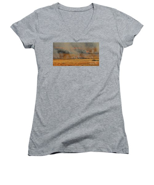 A Lone Firefighter On The Norbeck Prescribed Fire. Women's V-Neck