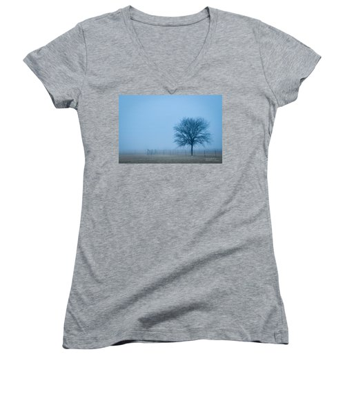 A Lone Tree In The Fog Women's V-Neck T-Shirt (Junior Cut) by David Perry Lawrence
