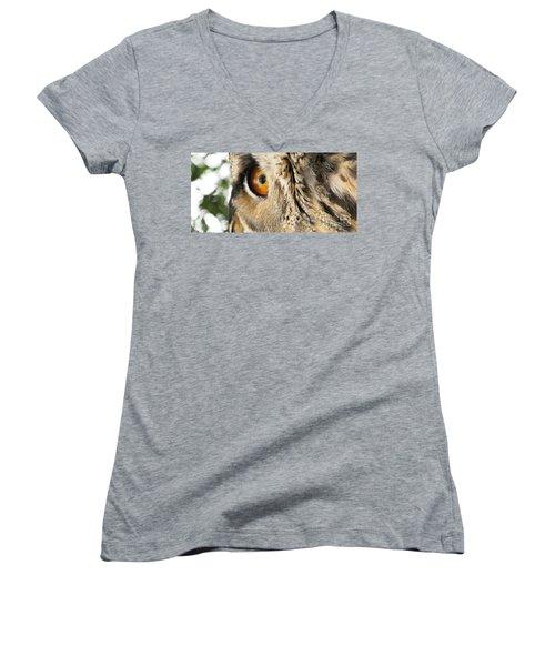 Women's V-Neck T-Shirt featuring the photograph Bubo Bubo- Eurasian Eagle Owl. Close Up. by Ausra Huntington nee Paulauskaite