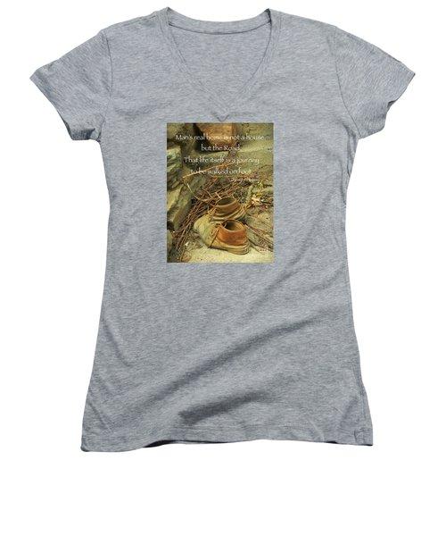 A Long Way Women's V-Neck T-Shirt (Junior Cut) by Simona Ghidini