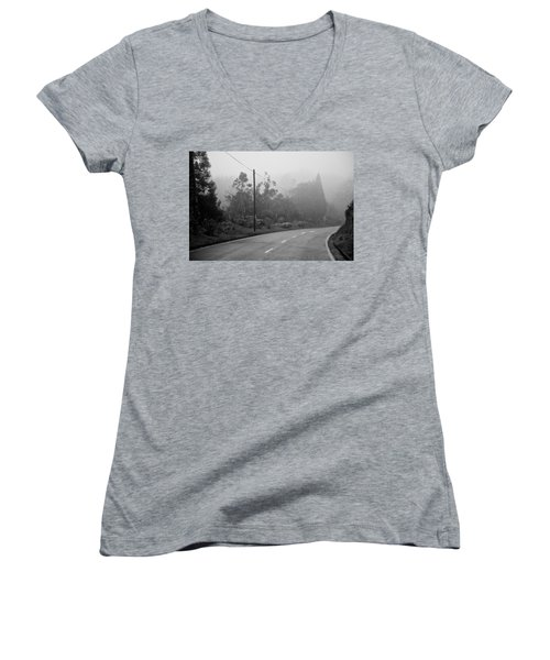 A Misty Country Road Women's V-Neck (Athletic Fit)
