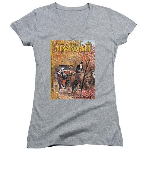 A Mohawked Punk Sitting In The Back Of A Horse Women's V-Neck