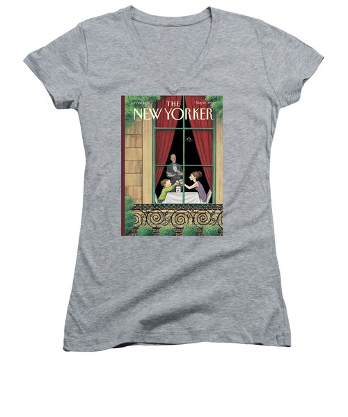A Mother And Son Enjoy A Meal Together Women's V-Neck