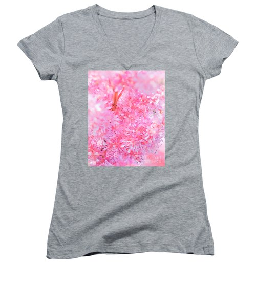 A Natural Pink Bouquet Women's V-Neck T-Shirt (Junior Cut) by David Perry Lawrence