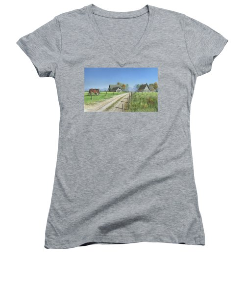 A New Beginning Women's V-Neck T-Shirt (Junior Cut) by Mike Brown