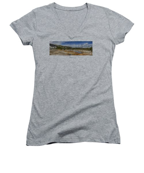 A Panoramic View Of  A Yellowstone Geyser Basin Women's V-Neck T-Shirt