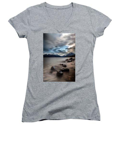 A Patch Of Blue Women's V-Neck T-Shirt (Junior Cut) by Aaron Aldrich