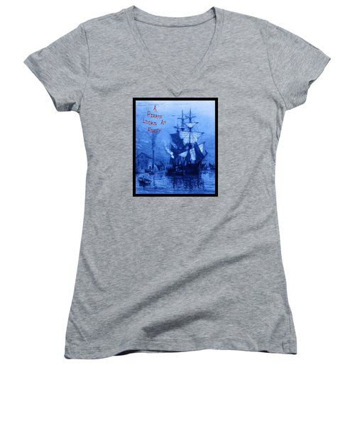 A Pirate Looks At Forty Women's V-Neck T-Shirt (Junior Cut) by John Stephens