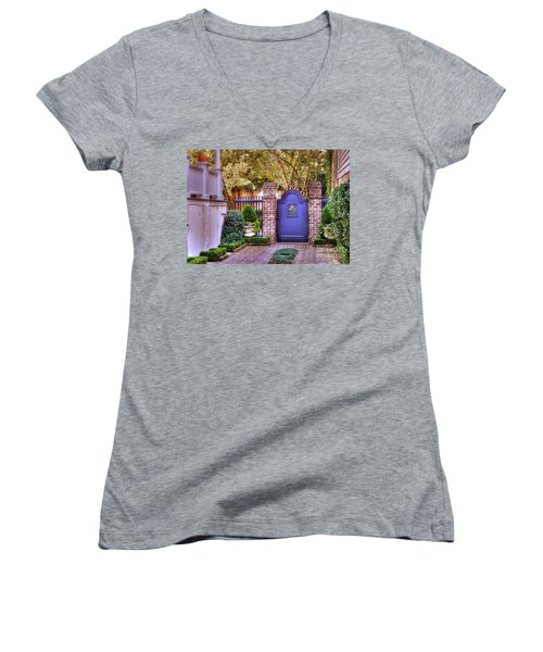Women's V-Neck T-Shirt (Junior Cut) featuring the photograph A Private Garden In Charleston by Kathy Baccari