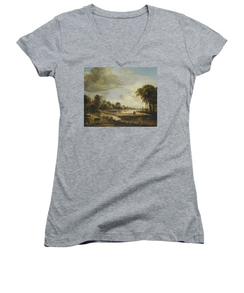 Women's V-Neck T-Shirt (Junior Cut) featuring the painting A River Landscape With Figures And Cattle by Gianfranco Weiss