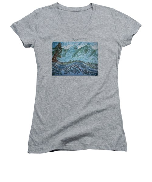 A River Runs Through It Women's V-Neck T-Shirt