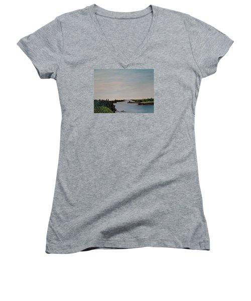Women's V-Neck T-Shirt (Junior Cut) featuring the painting A River Shoreline by Marilyn  McNish