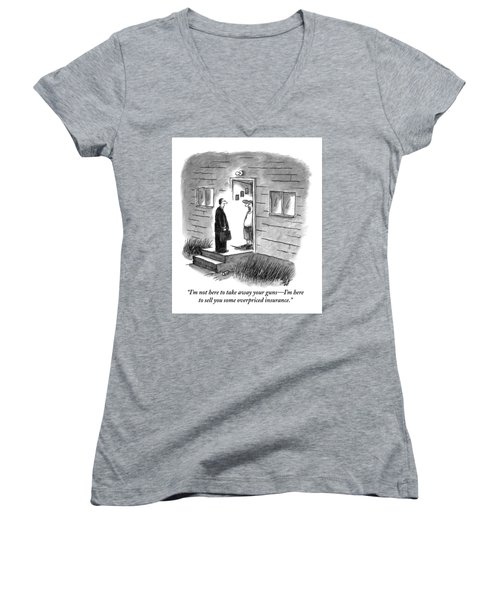 A Salesman Comes To The Door Of A Disgruntled Women's V-Neck