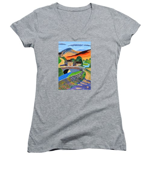 a Scottish highland lane Women's V-Neck T-Shirt (Junior Cut) by Magdalena Frohnsdorff