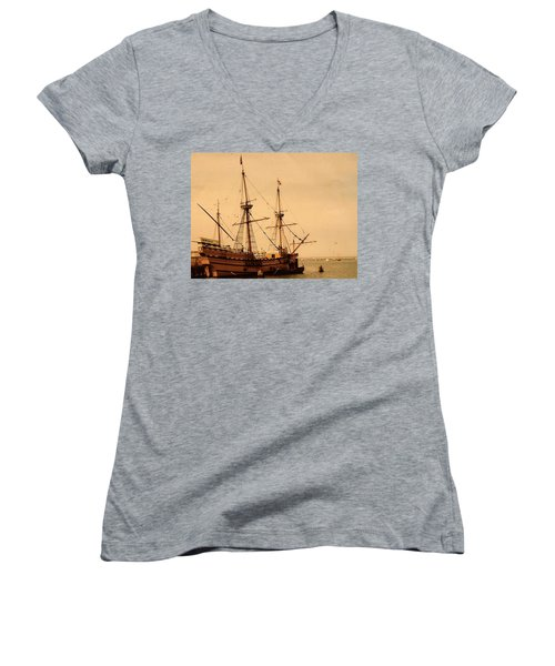 A Small Old Clipper Ship Women's V-Neck (Athletic Fit)