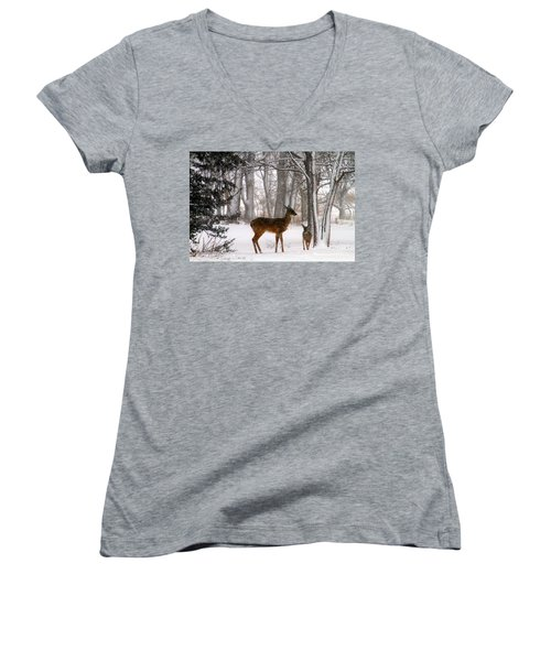 A Snowy Path Women's V-Neck T-Shirt (Junior Cut) by Elizabeth Winter