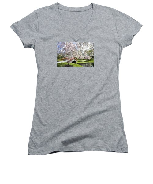 A Spring Walk Women's V-Neck T-Shirt (Junior Cut) by Paul W Faust -  Impressions of Light