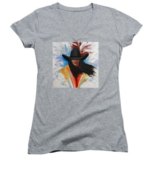 Women's V-Neck T-Shirt (Junior Cut) featuring the painting A Stroke Of Cowgirl by Lance Headlee