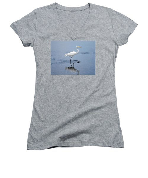 Women's V-Neck T-Shirt (Junior Cut) featuring the photograph A Stroll In The Marsh by John M Bailey
