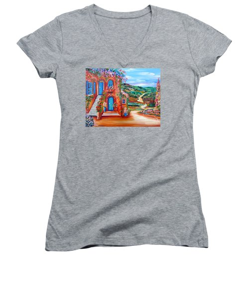 Women's V-Neck T-Shirt (Junior Cut) featuring the painting A Sunny Day In Chianti Tuscany by Roberto Gagliardi