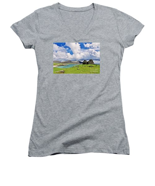 Women's V-Neck T-Shirt (Junior Cut) featuring the photograph A Sunny Day In The Hebrides by Juergen Klust